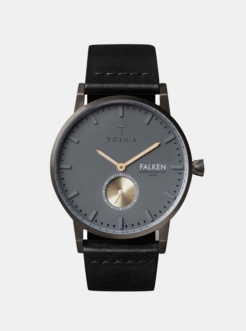 Hodinky s černým koženým páskem TRIWA Walter Falken