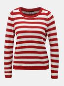 Bielo–červený pruhovaný sveter s gombíkmi ONLY Dorthea