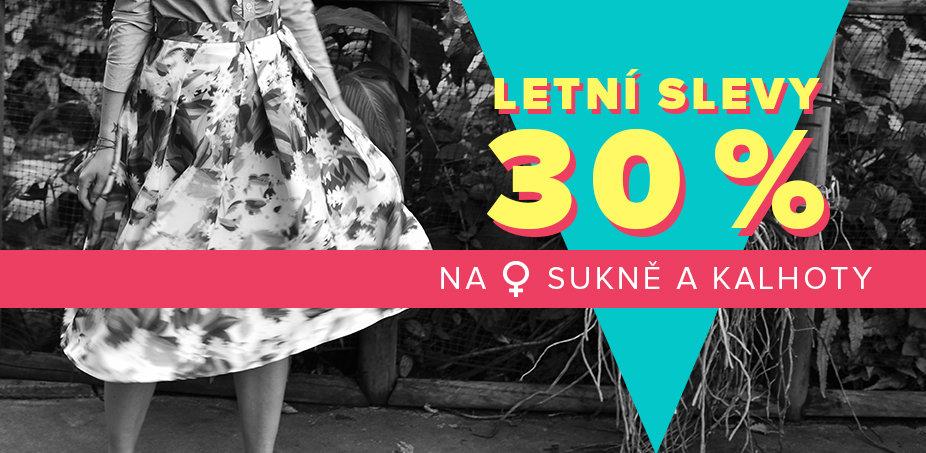 Letní slevy 30 % na kraťasy, sukně a kalhoty ♀