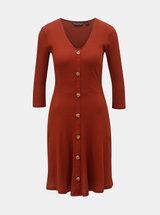 Tehlové rebrované šaty s ozdobnými gombíkmi Dorothy Perkins