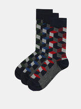 Sada tří vzorovaných ponožek v tmavě modré barvě Burton Menswear London