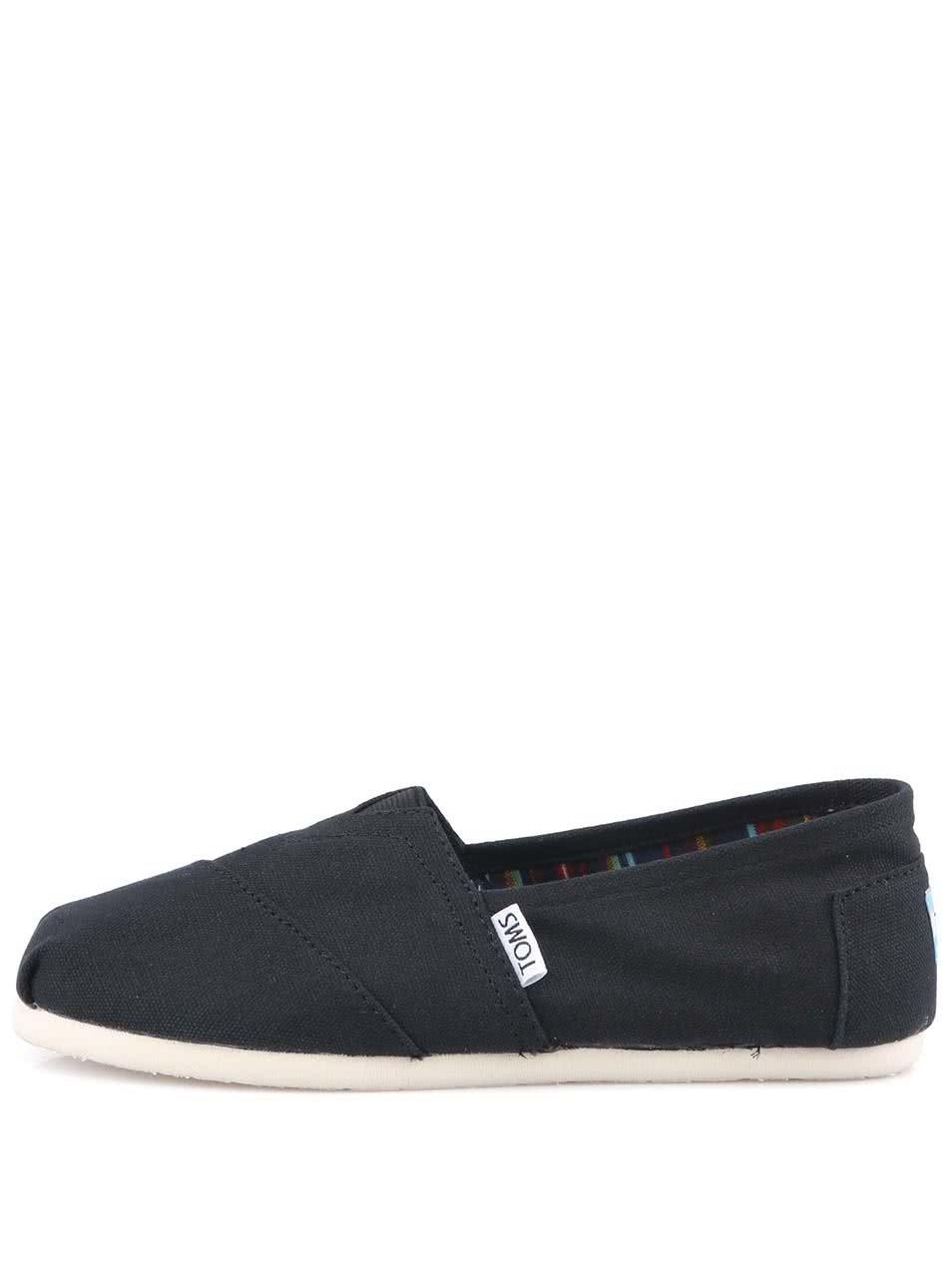 Černé pánské loafers TOMS Canvas Classic