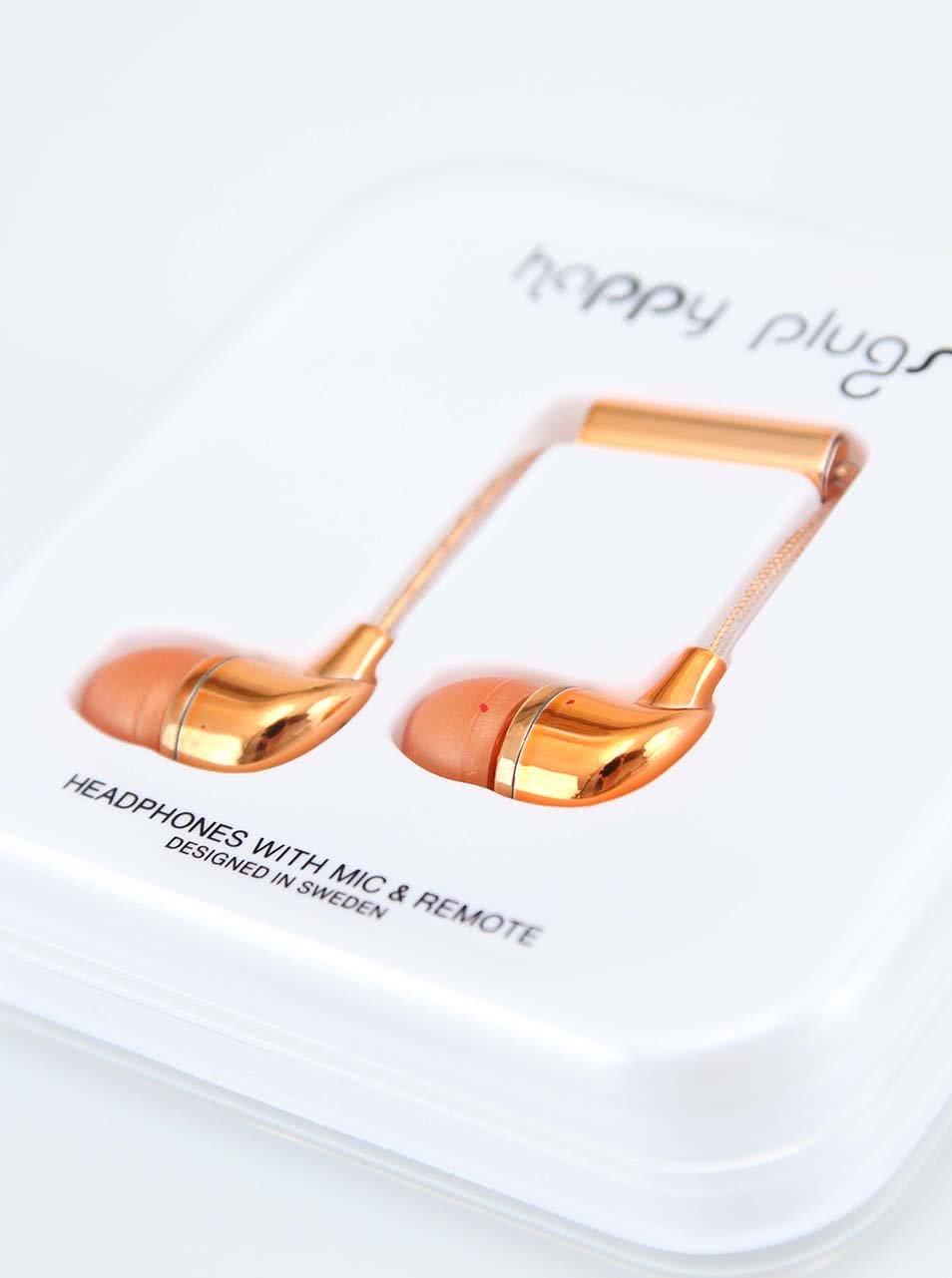 In-Ear sluchátka ve zlatorůžové barvě Happy Plugs