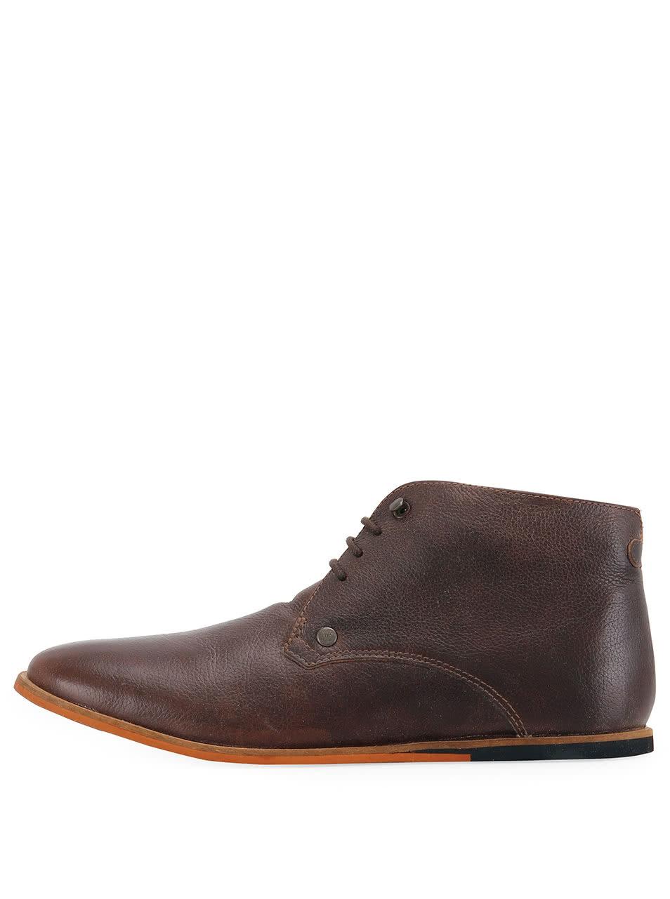 Tmavě hnědé kožené kotníkové boty Frank Wright Smith