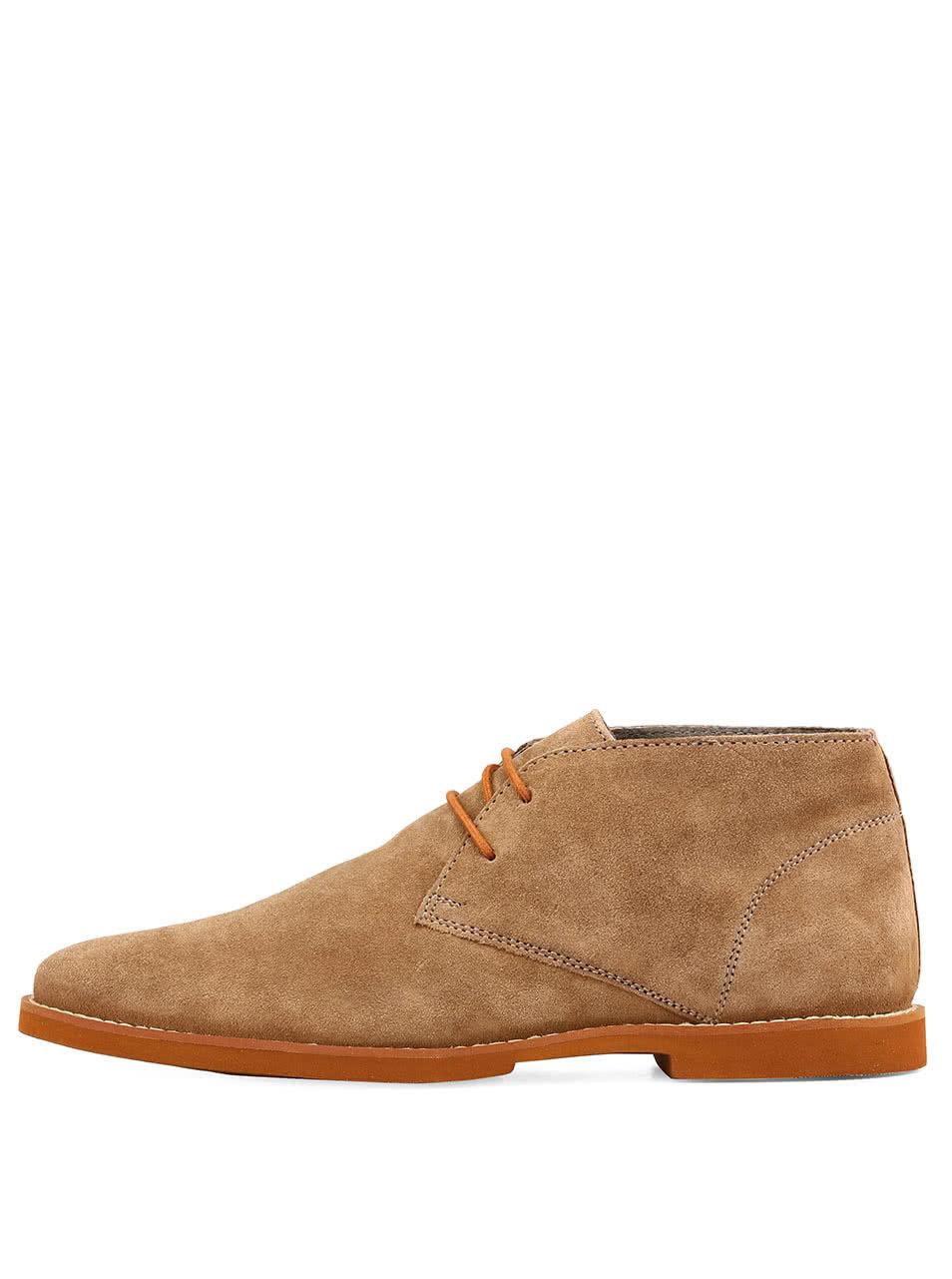 Oříškově hnědé semišové boty z kůže Frank Wright Bridges