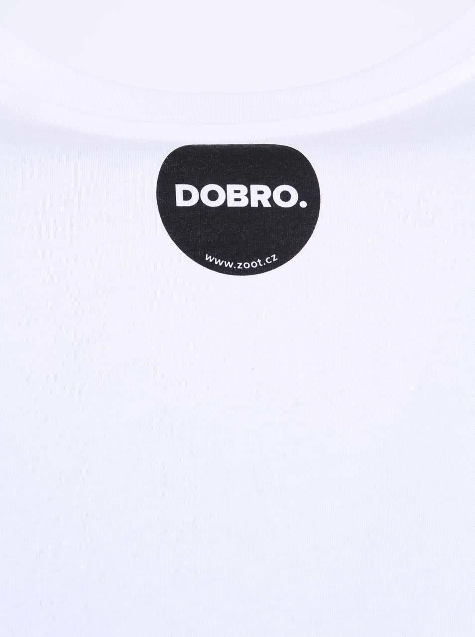 """""""Dobré"""" bílé pánské triko s potiskem na boku Jeden svět"""