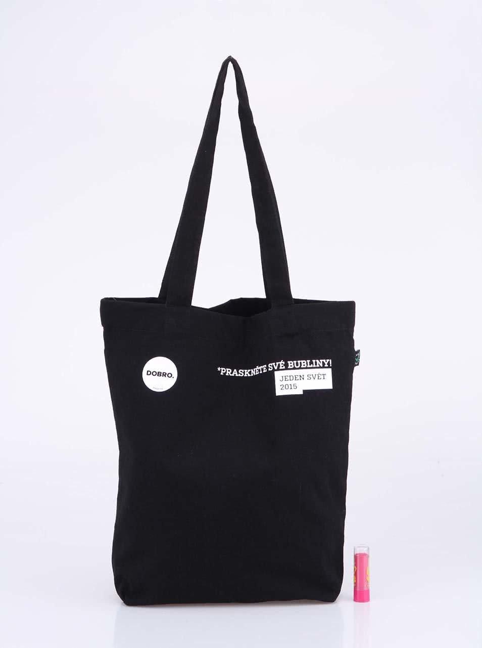 """""""Dobrá"""" černá taška s potiskem pro Jeden svět"""