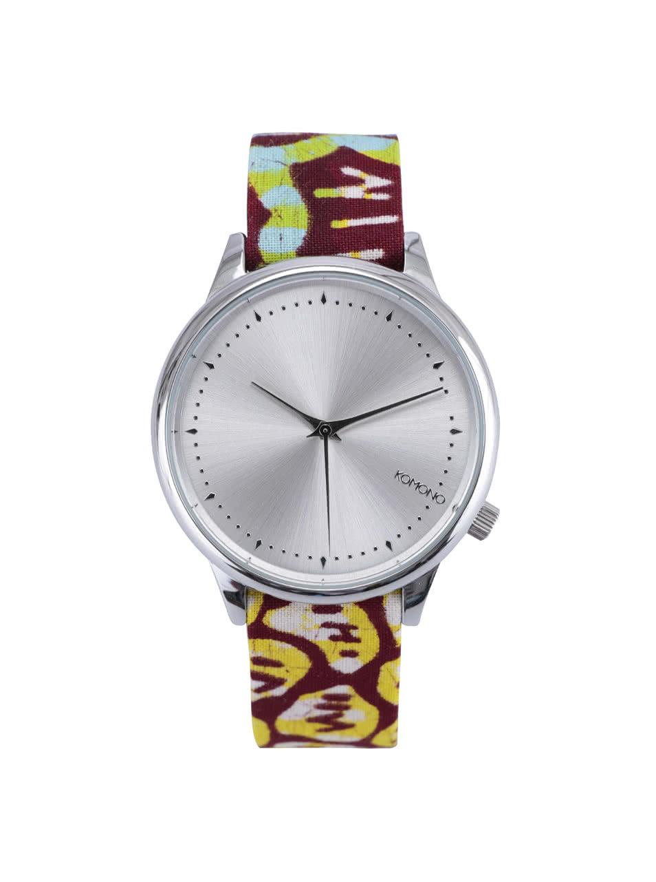 Dámské hodinky ve stříbrné barvě s textilním páskem Komono Estelle Silver