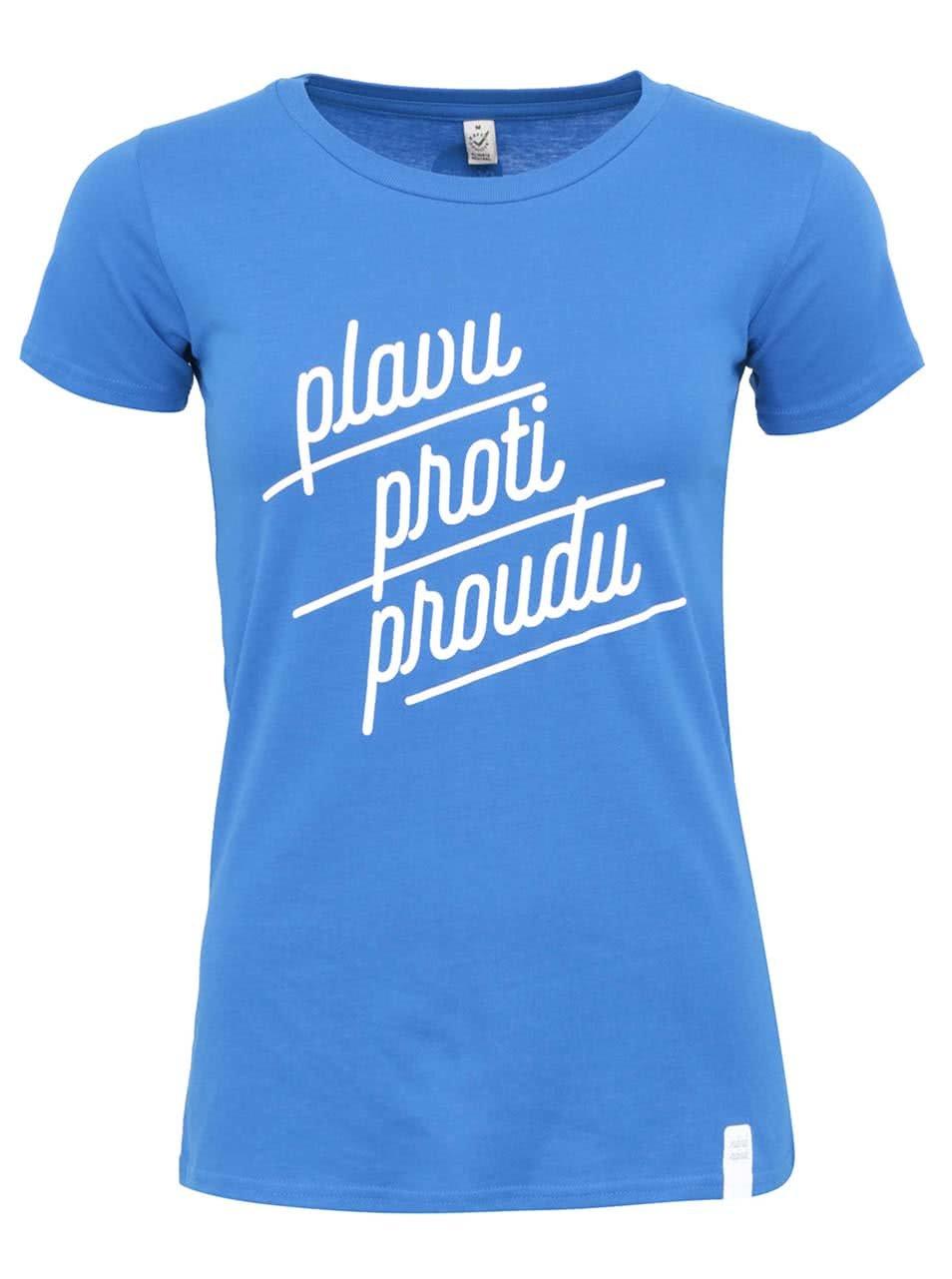 """""""Dobré"""" modré dámské triko s potiskem pro Náplavka k světu"""