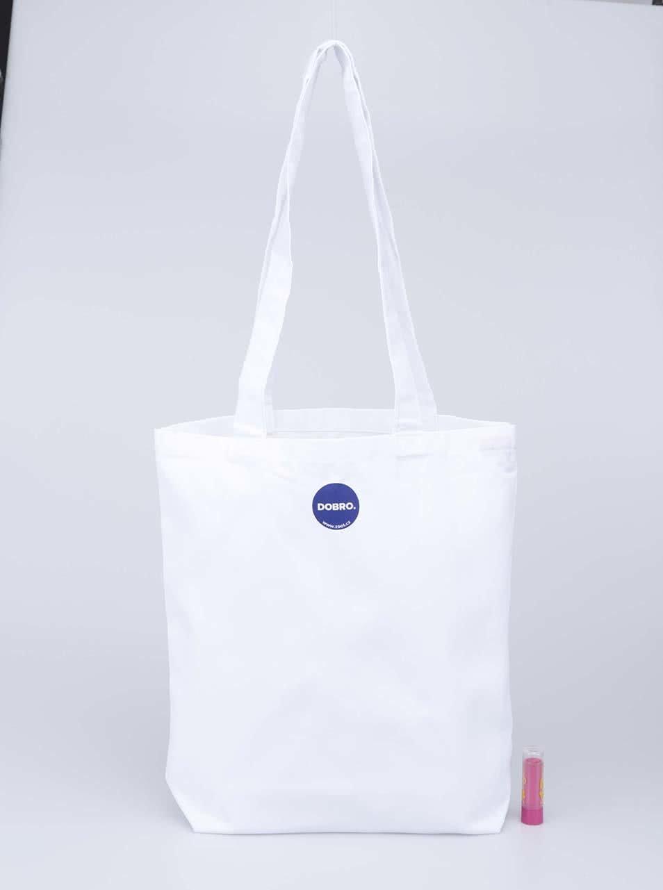 """""""Dobrá"""" bílá plátěná taška s potiskem pro Náplavka k světu"""
