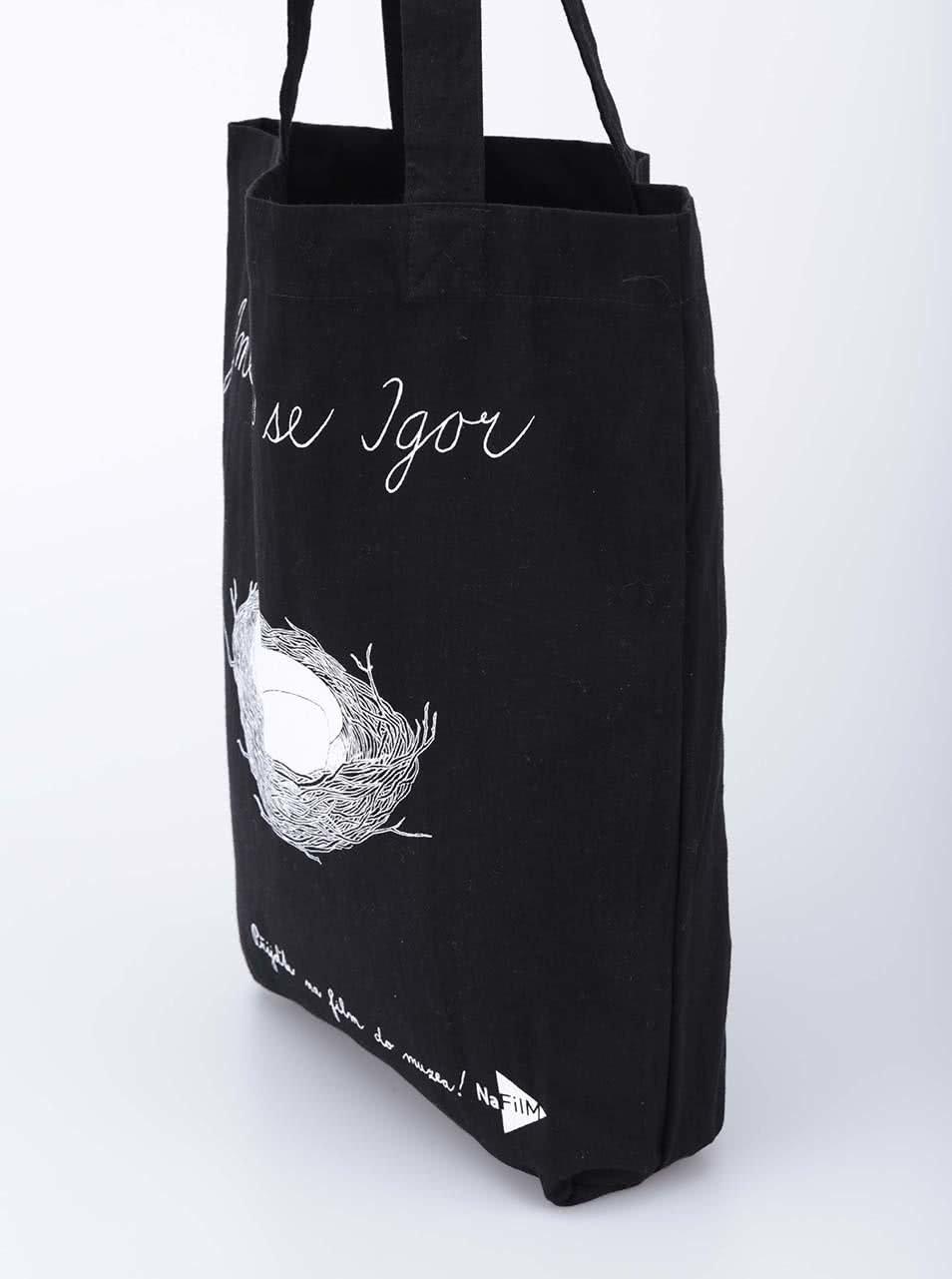 """""""Dobrá"""" černá plátěná taška pro NaFilM Igor"""