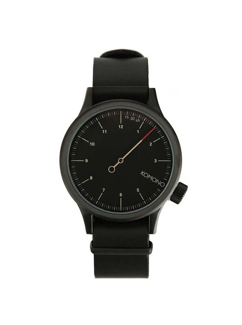 Černé pánské hodinky s koženým páskem Komono Magnus The One