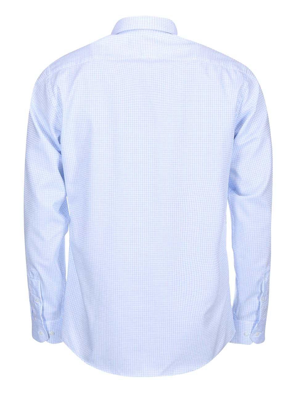 Bílo-modrá formální kostkovaná slim fit košile Seven Seas Castaway
