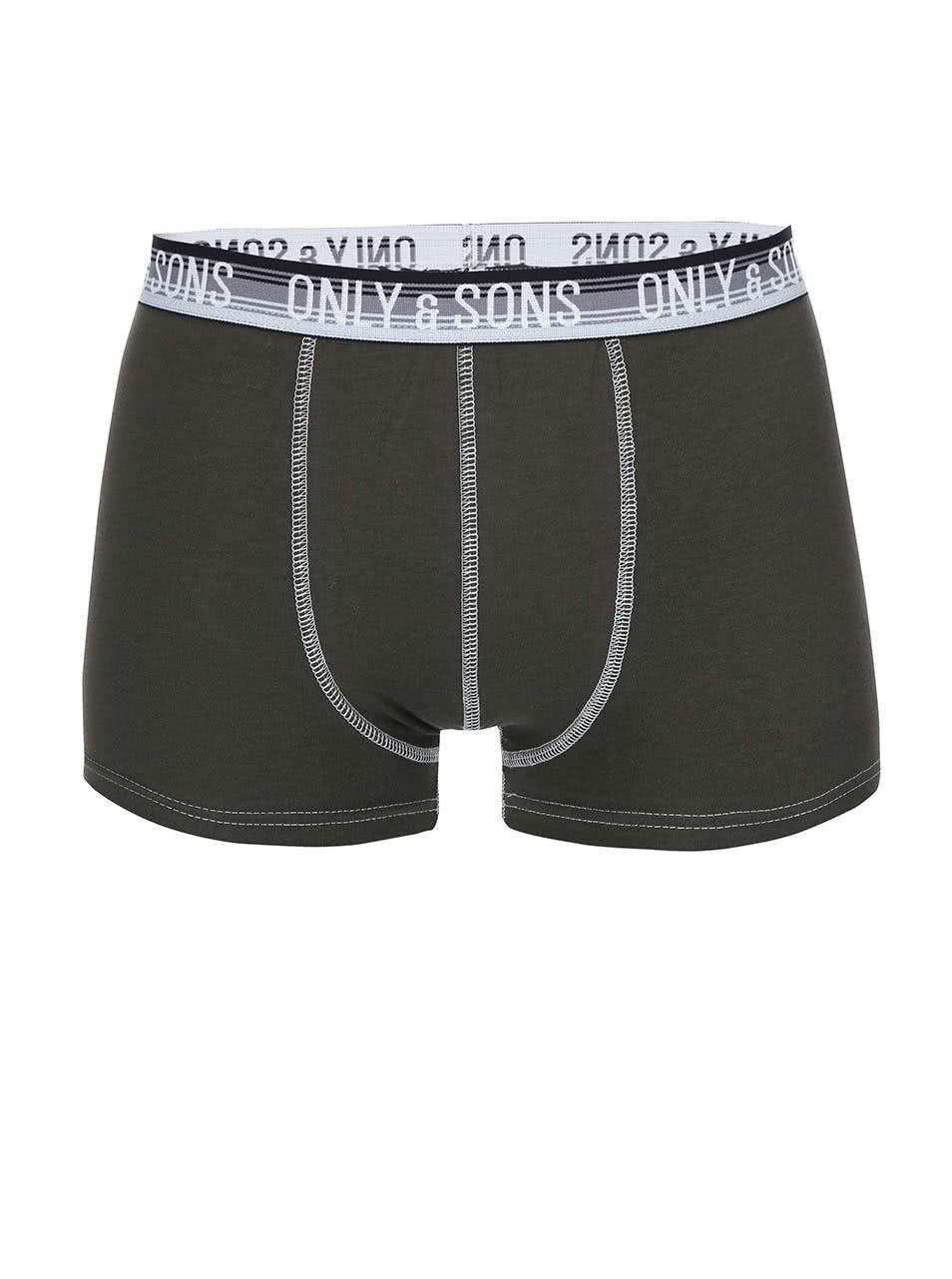 Tmavě zelené boxerky ONLY & SONS Simon
