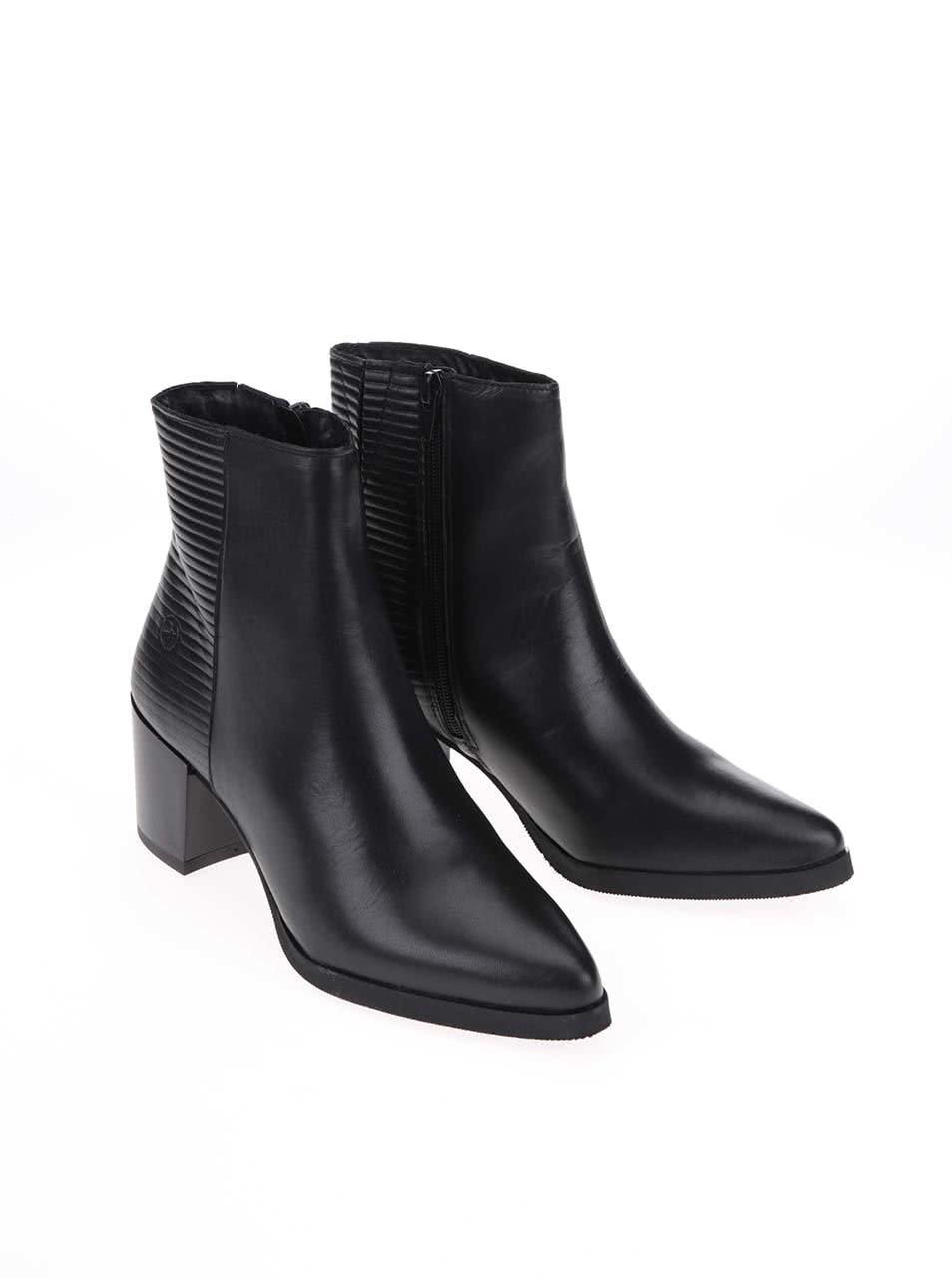 880988702e Černé kožené kotníkové boty na podpatku Bronx ...