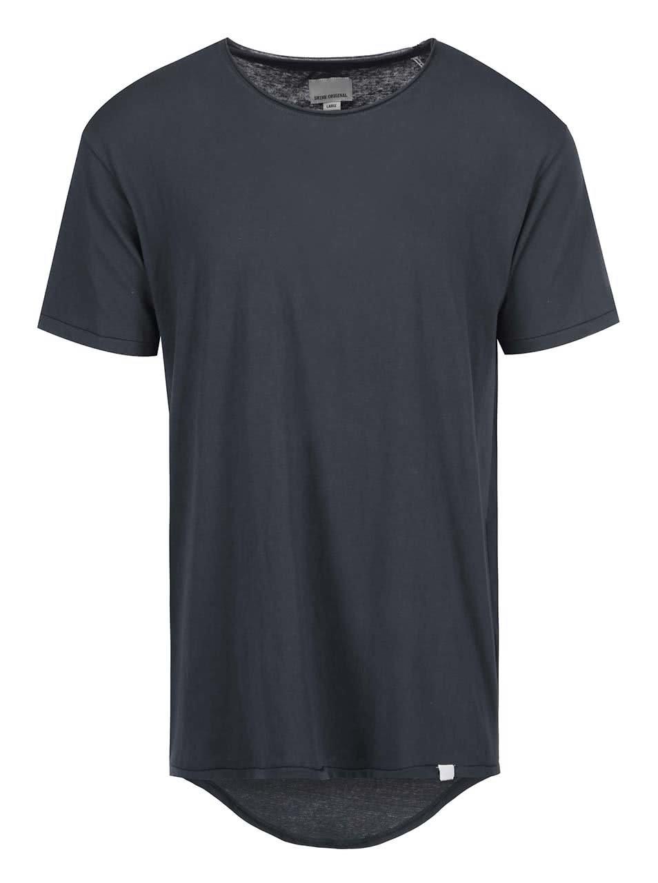 Tmavě šedé triko s prodlouženou zadní částí Shine Original ... 2c7ce576ff