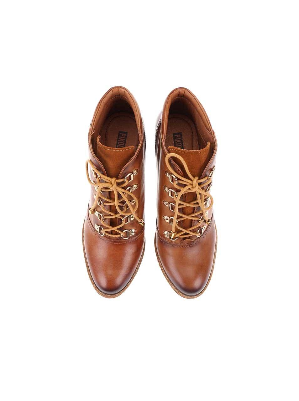 64c7398d9f56 Hnedé kožené šnurovacie topánky na podpätku Pikolinos ...