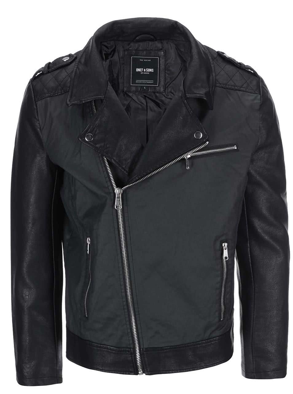 c5e8ea517 Čierna koženková bunda ONLY & SONS Steven Biker | ZOOT.sk