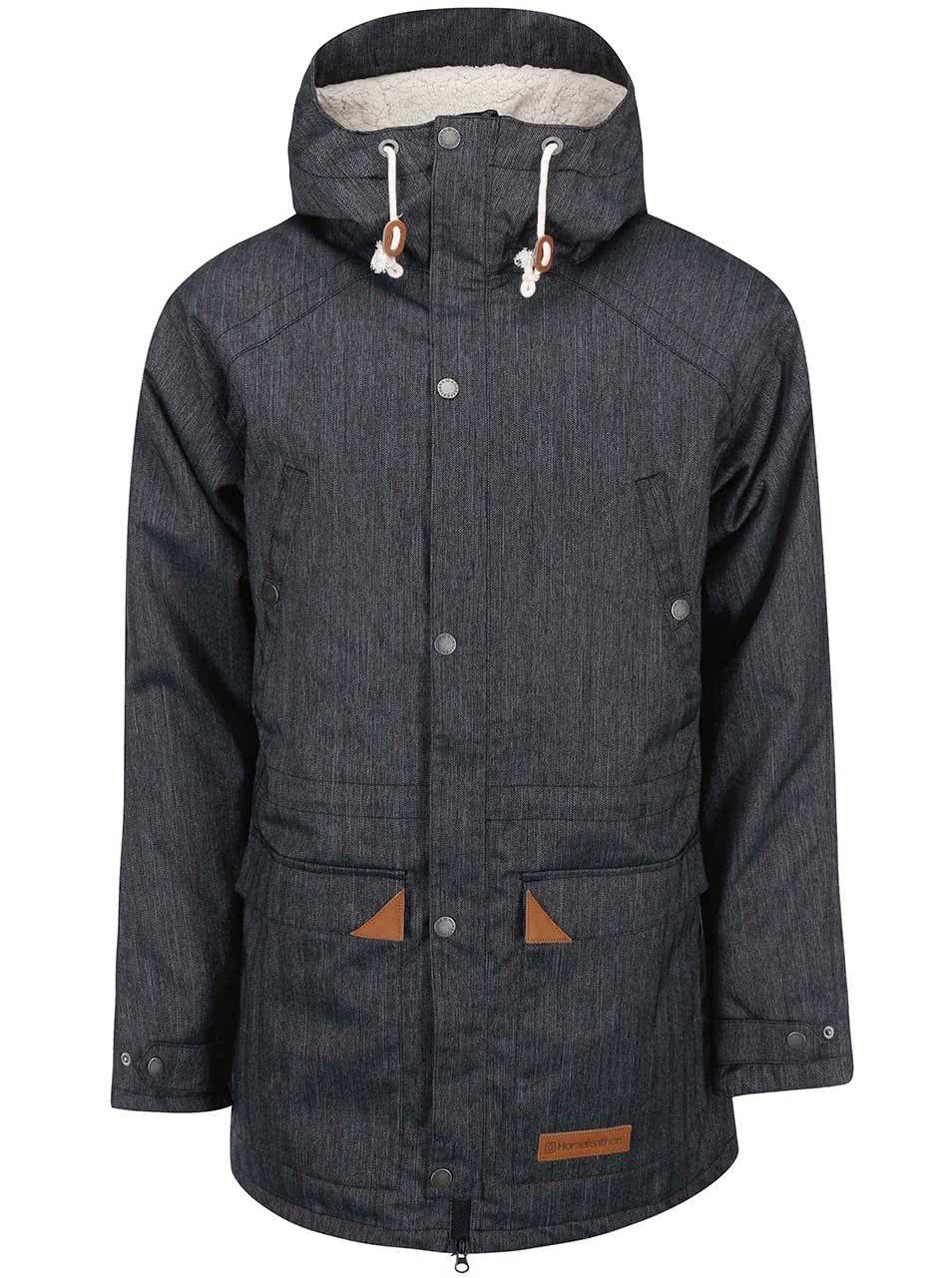 Tmavosivá pánska bunda s kapucňou Horsefeathers Daemon ... 2c26635781e