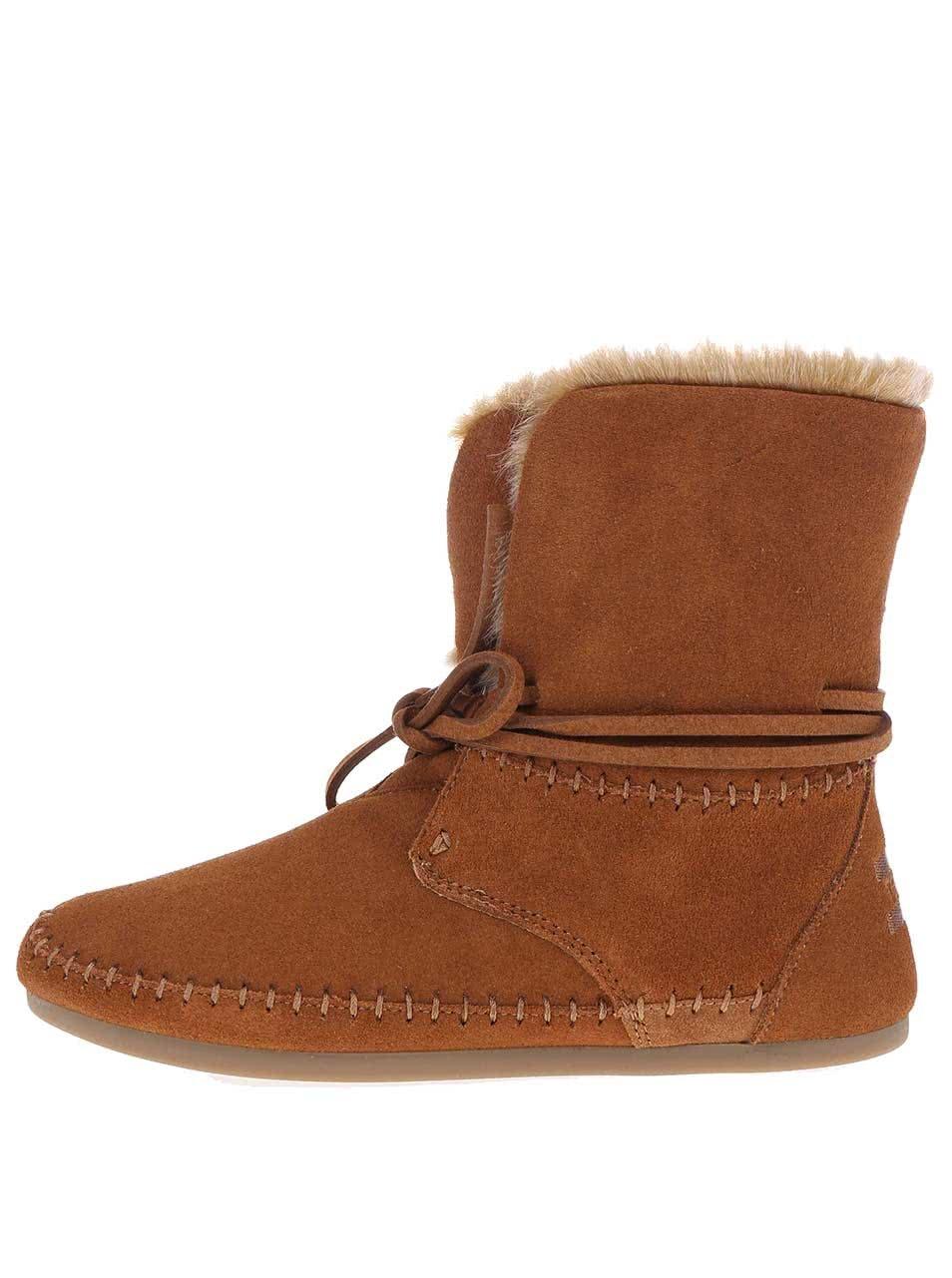 Hnědé dámské kožené boty s kožíškem TOMS Zahara ... e0a5a93047