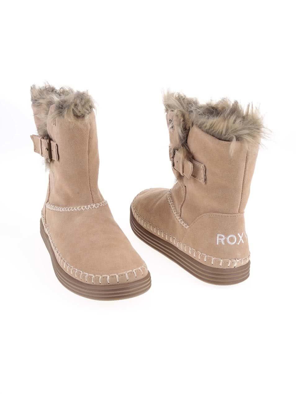 8b3df34bf6 Hnedé vyššie členkové topánky s kožušinkou Roxy Ashley ...
