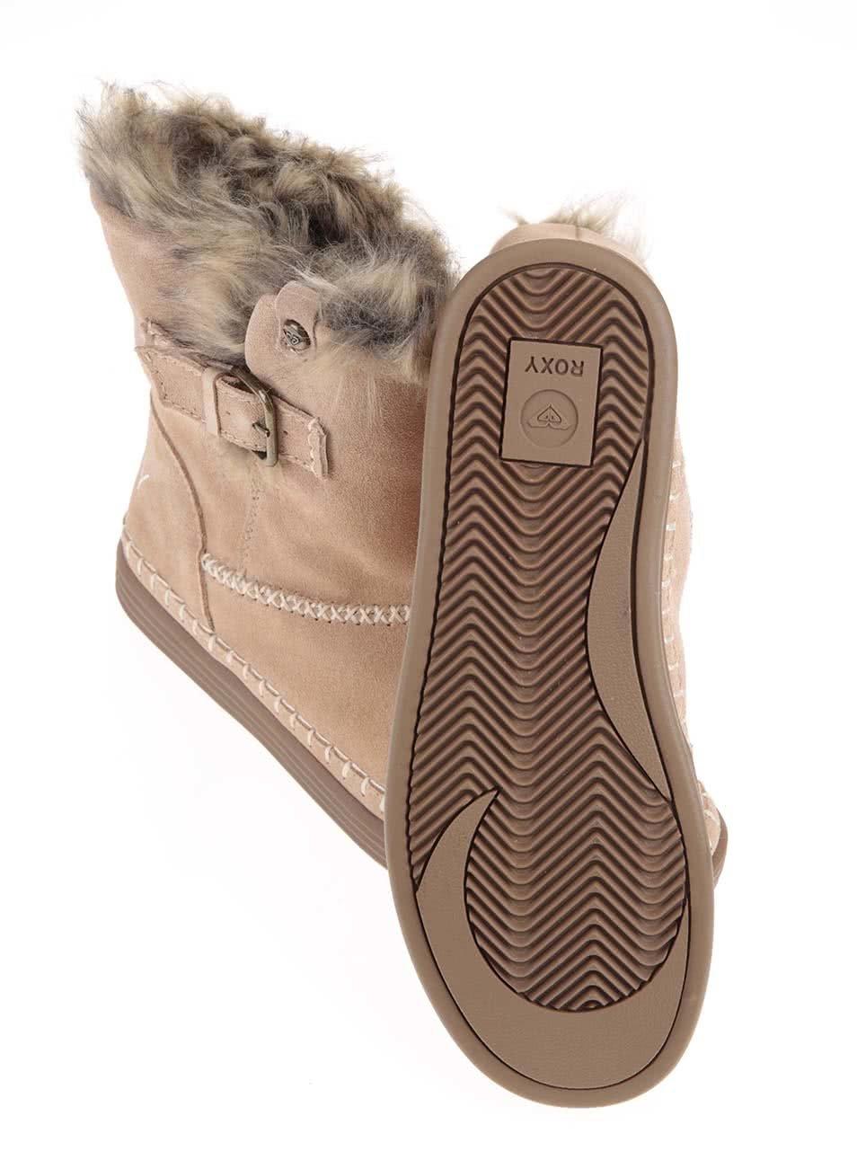 f882054391 Hnedé vyššie členkové topánky s kožušinkou Roxy Ashley