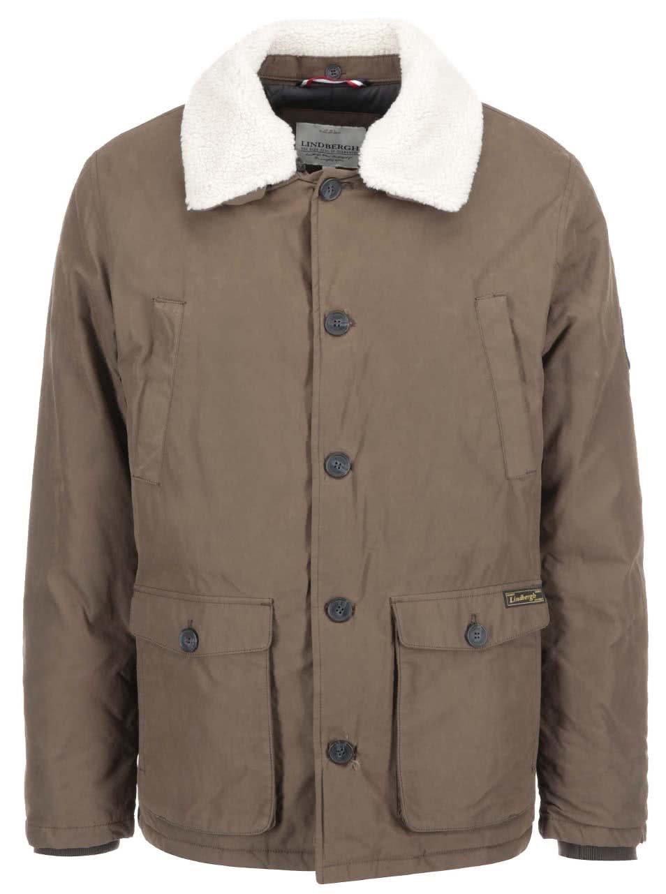 Hnedá bunda s kožušinovým golierom Lindbergh ... ba720bab8e8