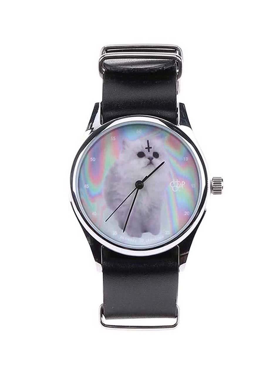 Unisex hodinky ve stříbrné barvě s černým koženým páskem Cheapo Cat
