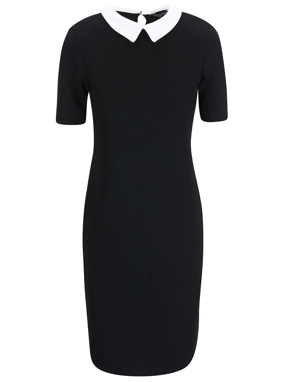Čierne strečové šaty s bielym golierikom Dorothy Perkins ... b46e7bc4153