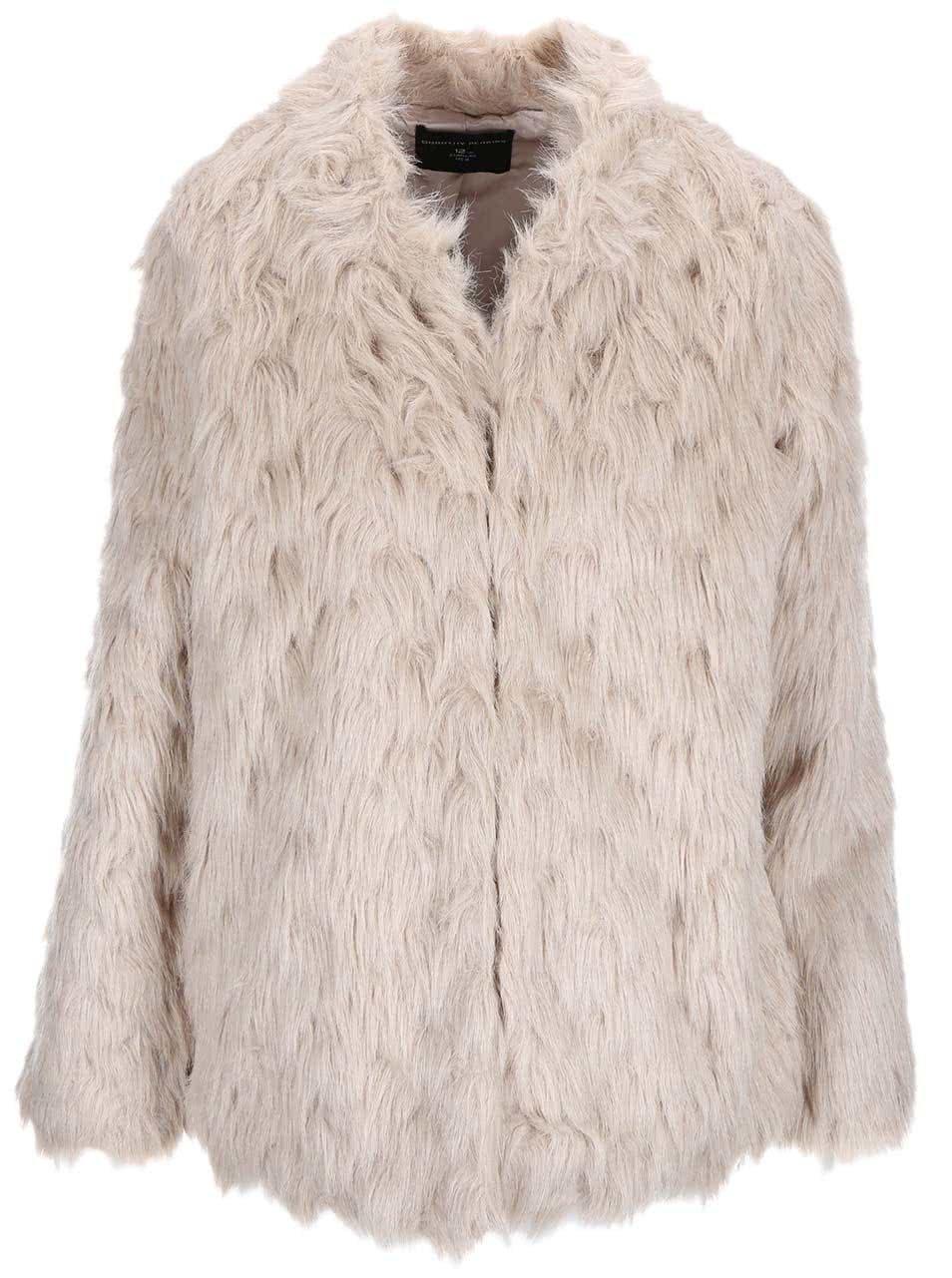 Béžový kabát z umělé kožešiny Dorothy Perkins ... 4104520e46