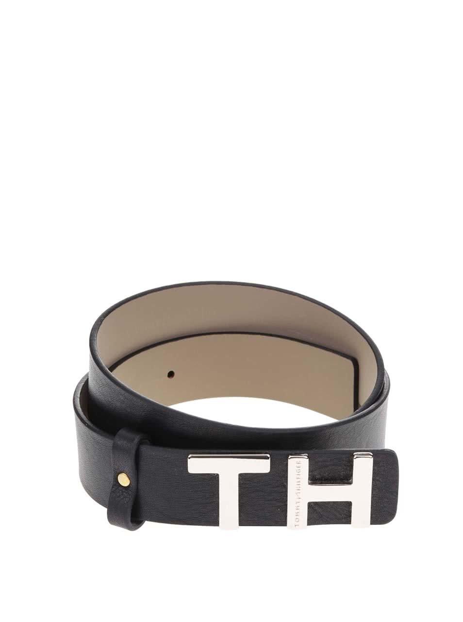 Čierny dámsky kožený opasok Tommy Hilfiger TH ... e7e82441b05