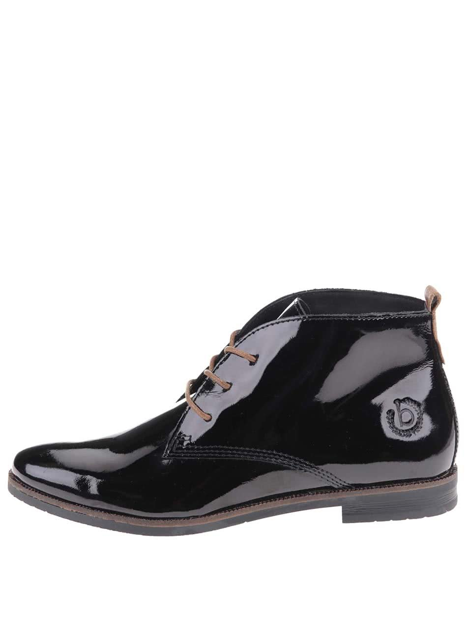 9e0c33b987b Černé dámské kožené lesklé boty bugatti Faith ...