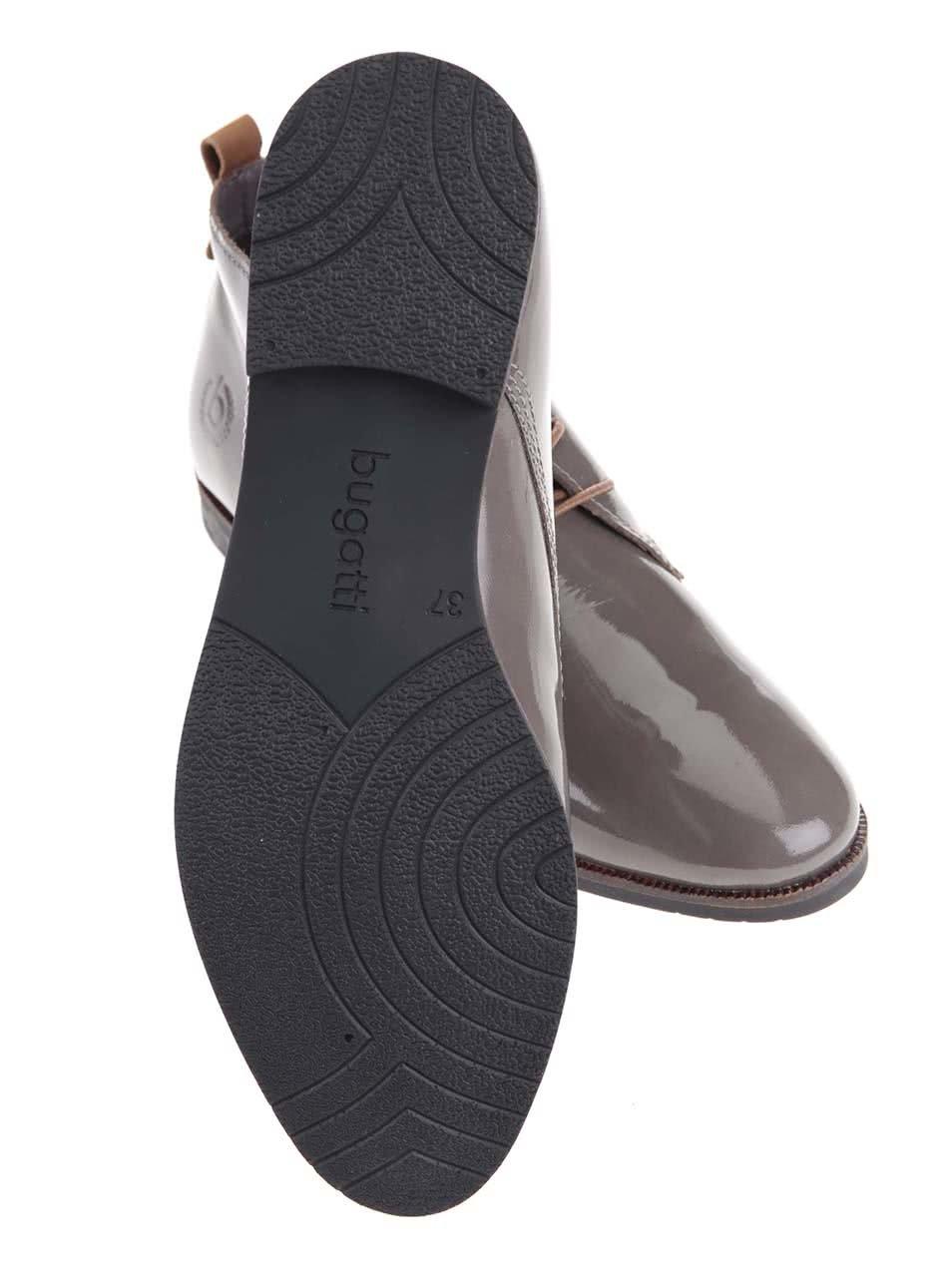 875da065a4 Sivé dámske kožené lesklé topánky bugatti Faith ...