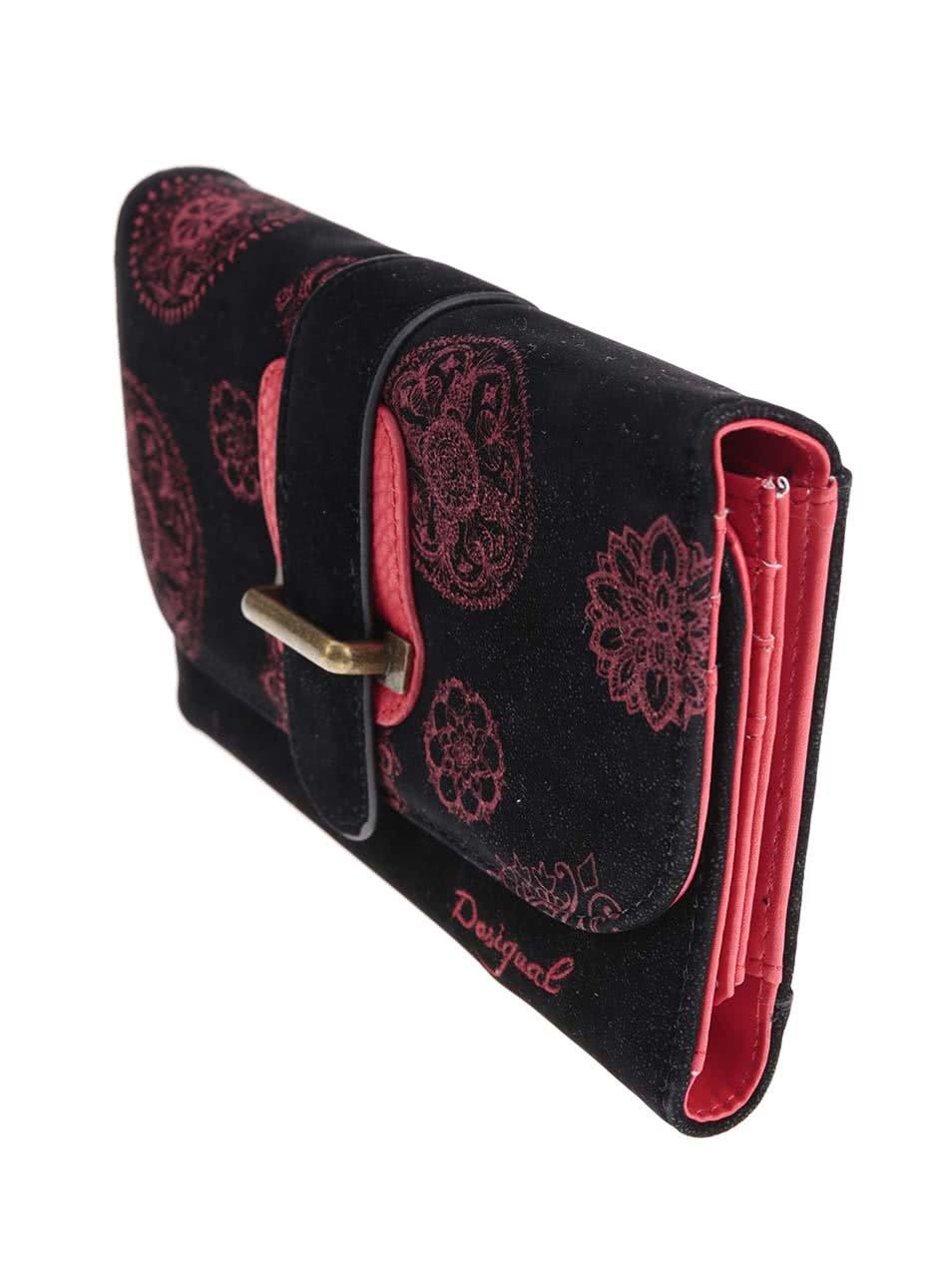 Červeno-čierna peňaženka s ornamentmi Desigual ... bf480376cc8