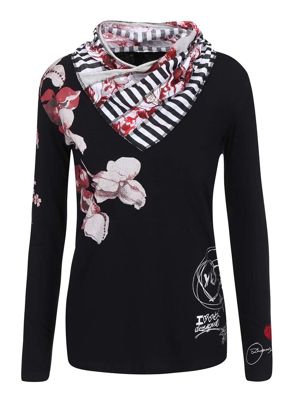 Černé vzorované tričko s rolákem Desigual Laura ... 4a6782d0954