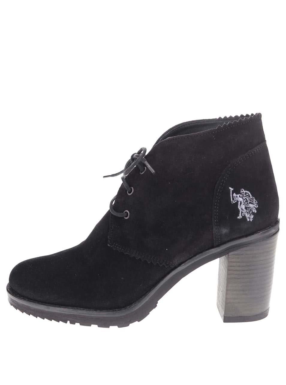 6828c4c21a7d Tmavomodré dámske kožené topánky na podpätku U.S. Polo Assn. Maruska ...