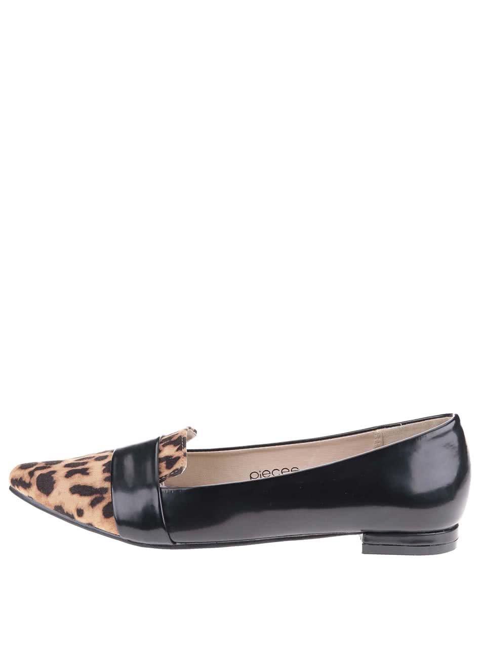 Čierne mokasíny s leopardím vzorom Pieces Vani ... 9b18646f5c3