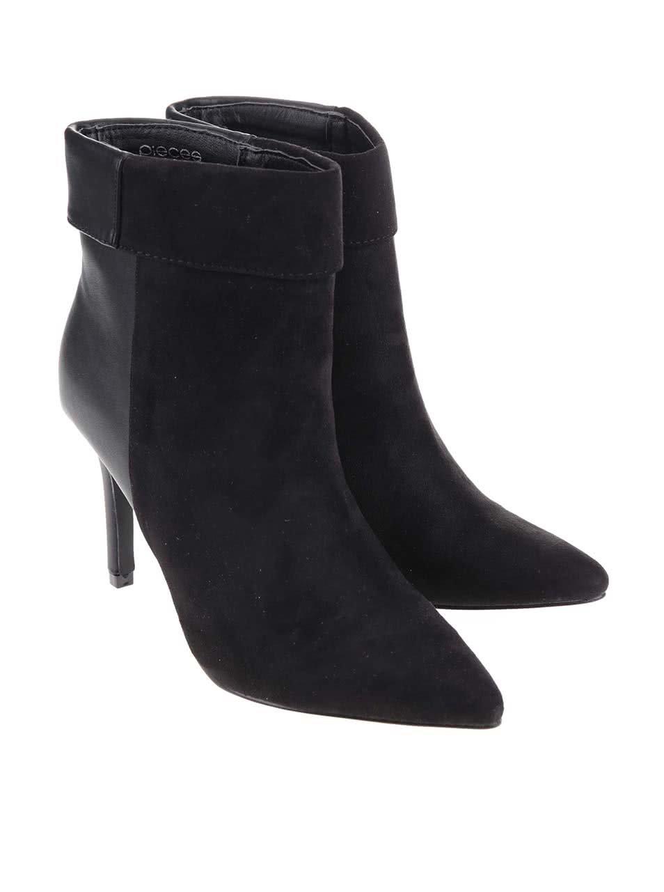 Čierne členkové topánky na podpätku Pieces Valerie ... 13dd2f0d8c5