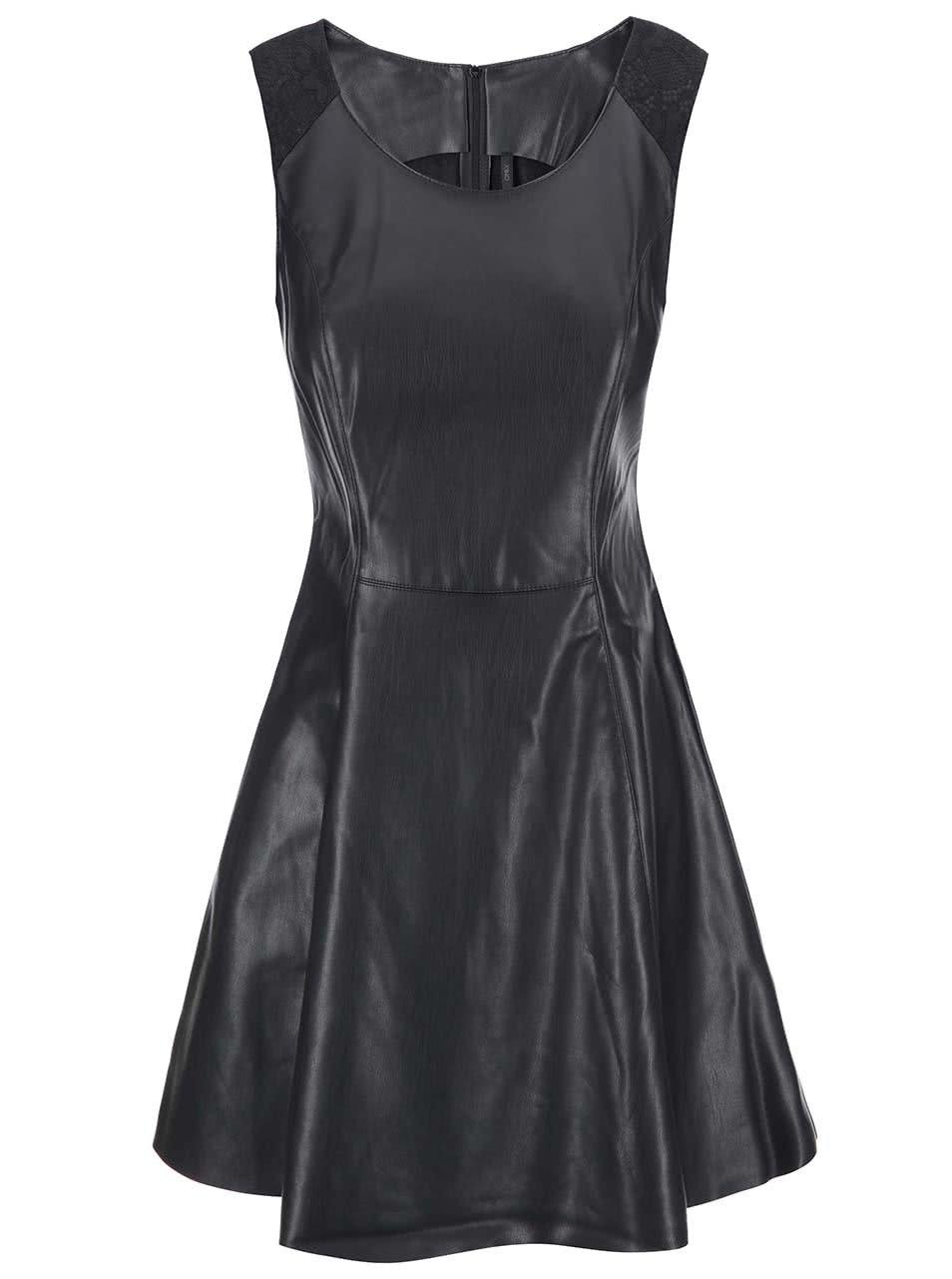 5eec89b70b01 Čierne koženkové šaty ONLY Flower ...