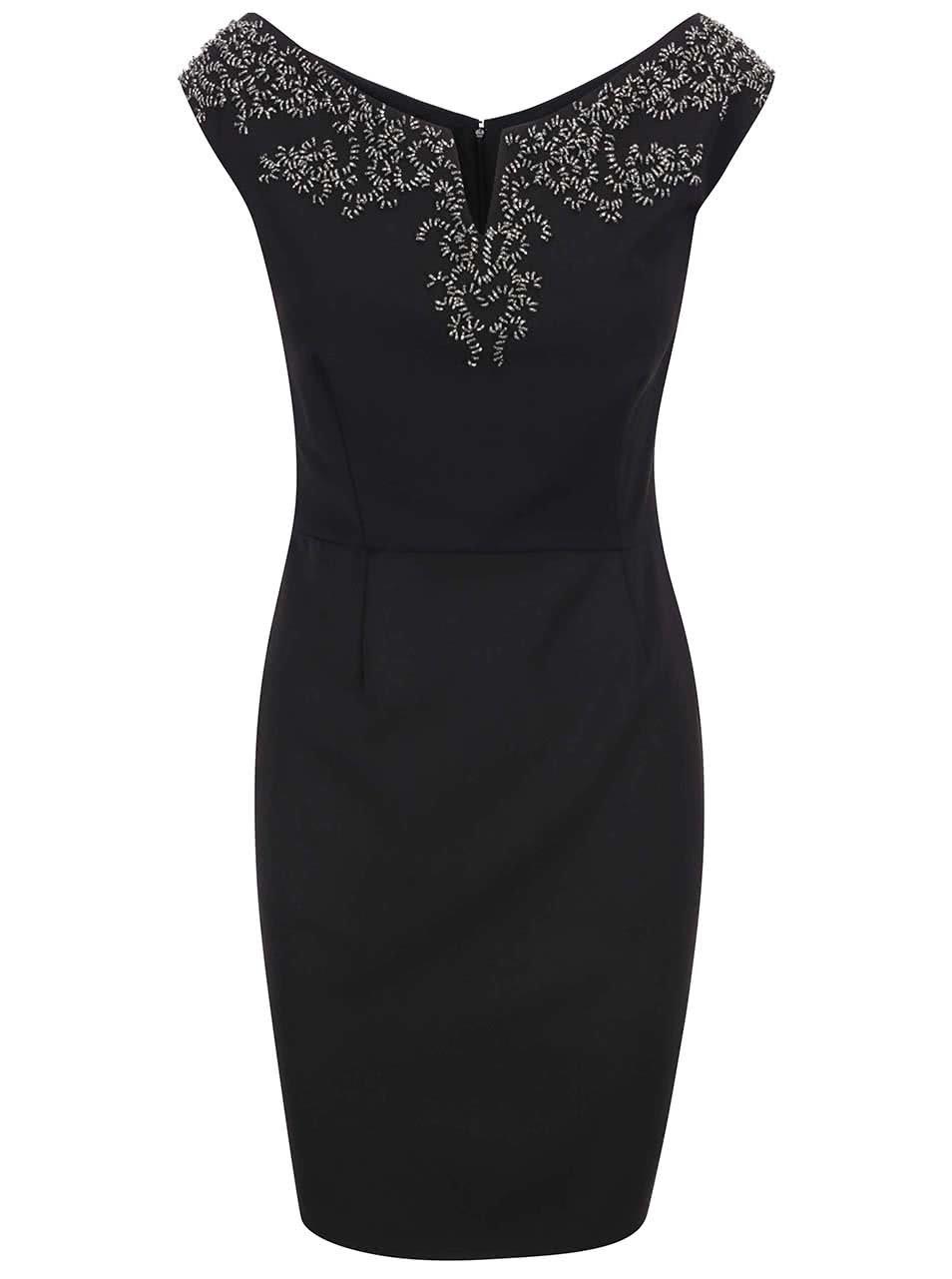 Čierne puzdrové šaty so zdobeným dekoltom Little Mistress ... fff2c3e6f7a