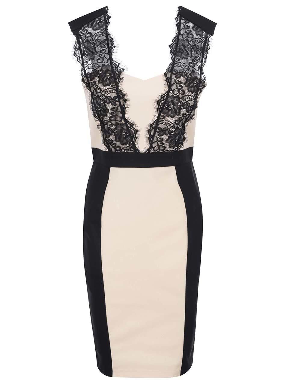 Čierno-béžové šaty s čipkou Paper Dolls ... 7e033a13dff