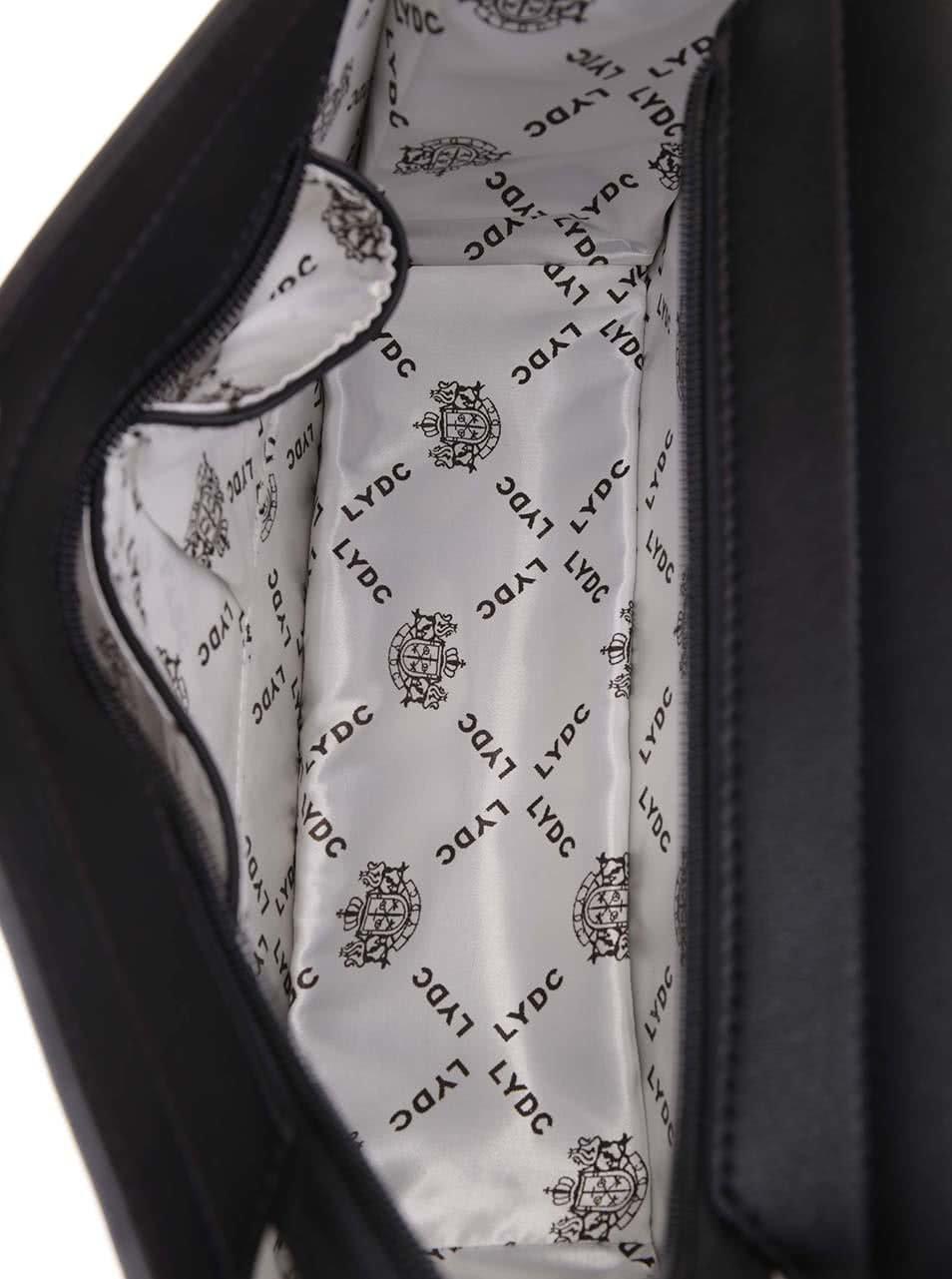 Strieborno-čierna kabelka s retiazkou v zlatej farbe LYDC ... 0f984377b4d