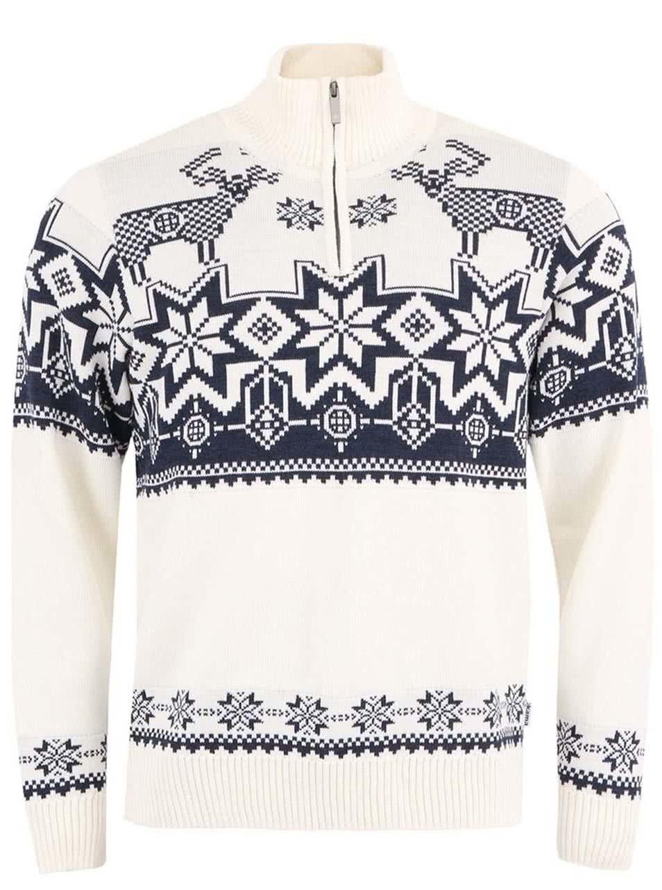 23a9df18b705 Krémový vlnený pánsky sveter v nórskom štýle Kama ...