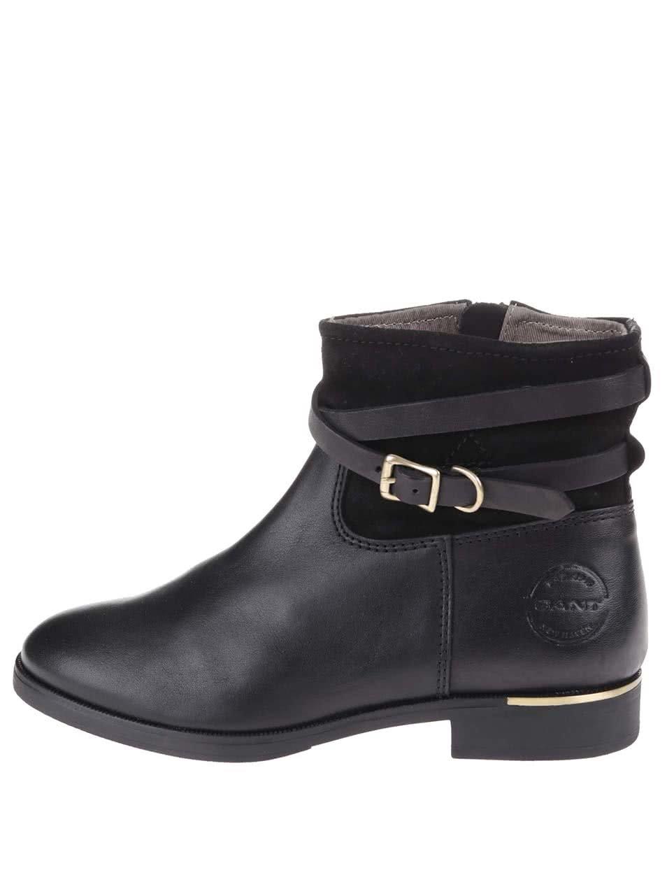 859f893810 Čierne dámske kožené členkové topánky Gant Laura ...