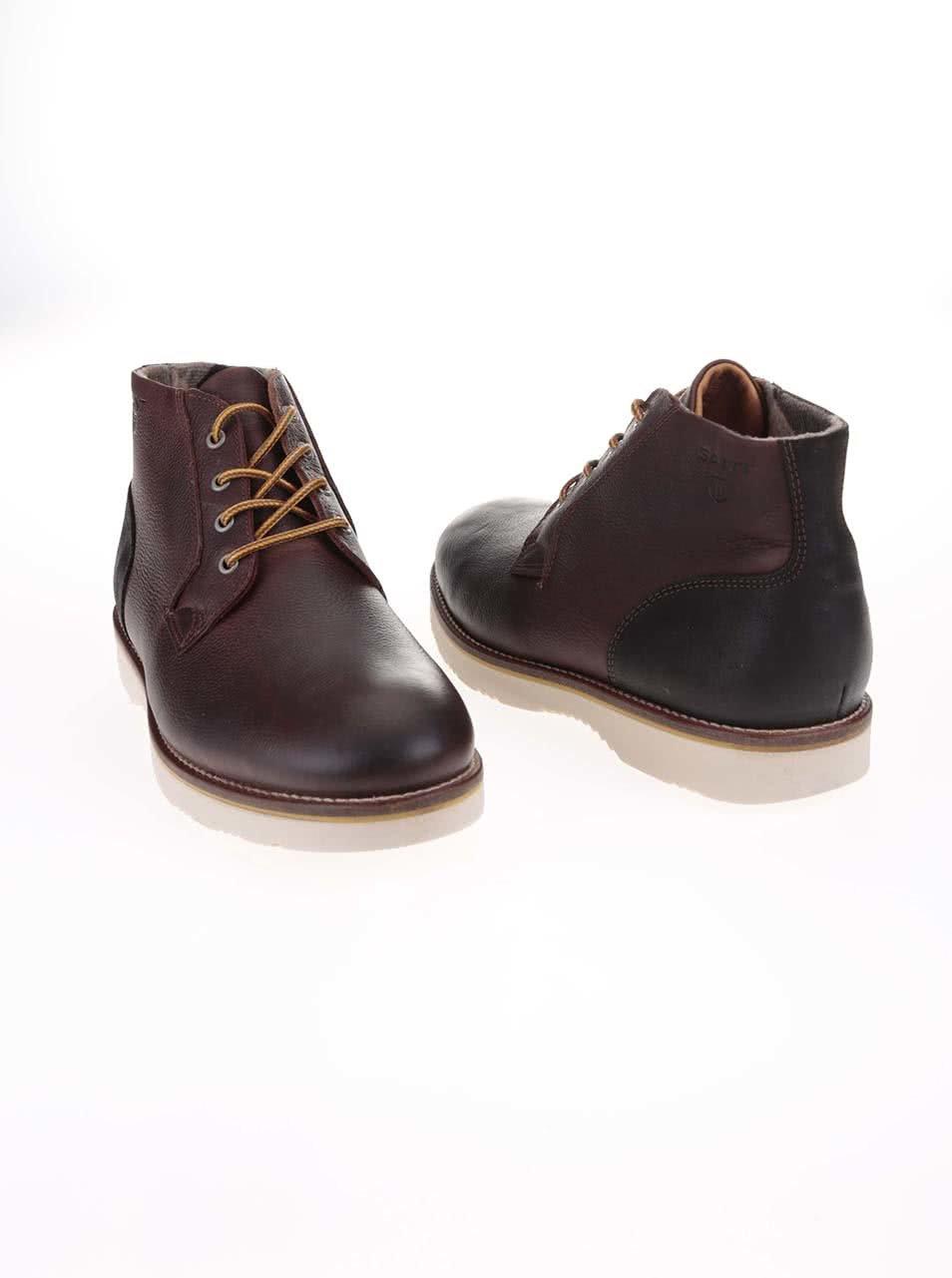f9a010fa5 Tmavohnedé pánske kožené členkové topánky GANT Huck | ZOOT.sk