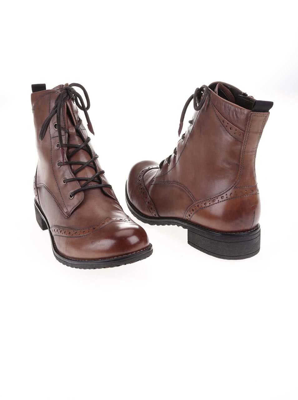 1239b3b0f Hnedé kožené členkové topánky na šnurovanie Tamaris | ZOOT.sk