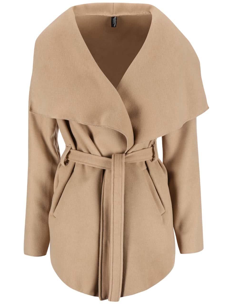 Světle hnědý dámský kabát Madonna Dobra ... 28c0382dda3