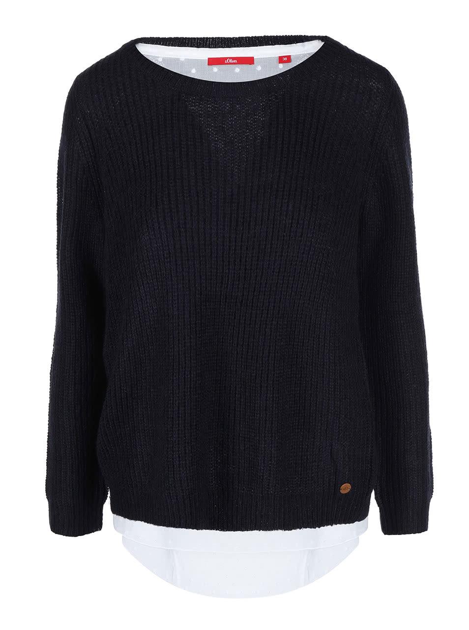 Tmavě modrý dámský svetr s všitou bílou halenkou s.Oliver  6103cba44f