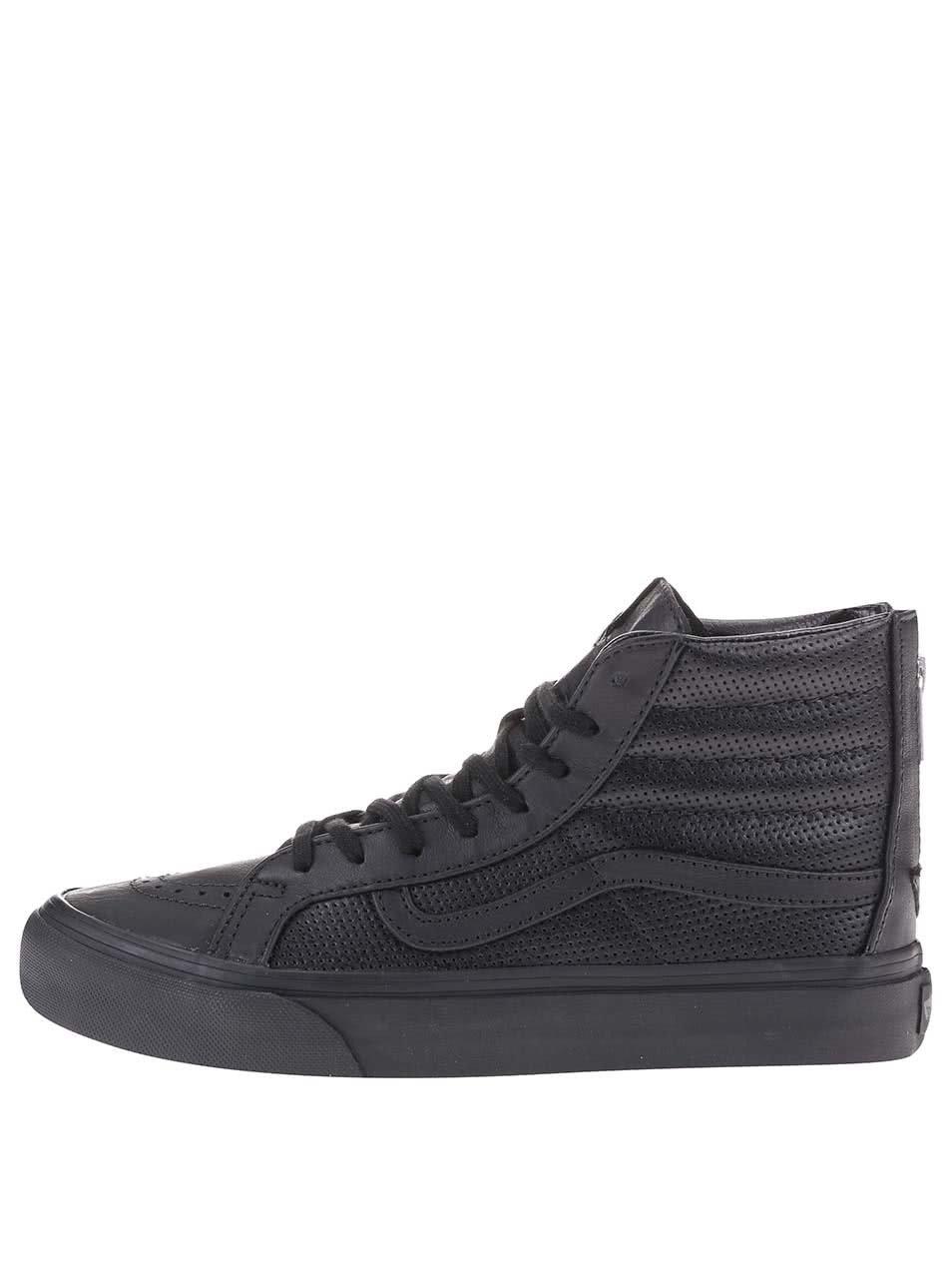 Čierne dámske kožené členkové tenisky Vans SK8-HI ... ab1ae0b9216