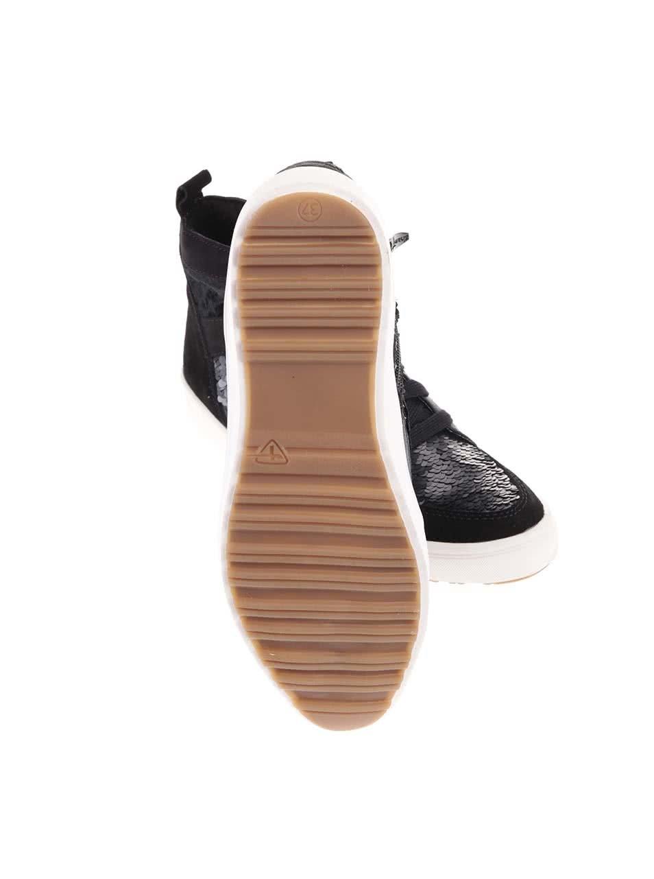 Čierne kožené členkové tenisky s flitrami Tamaris ... fa051d6587